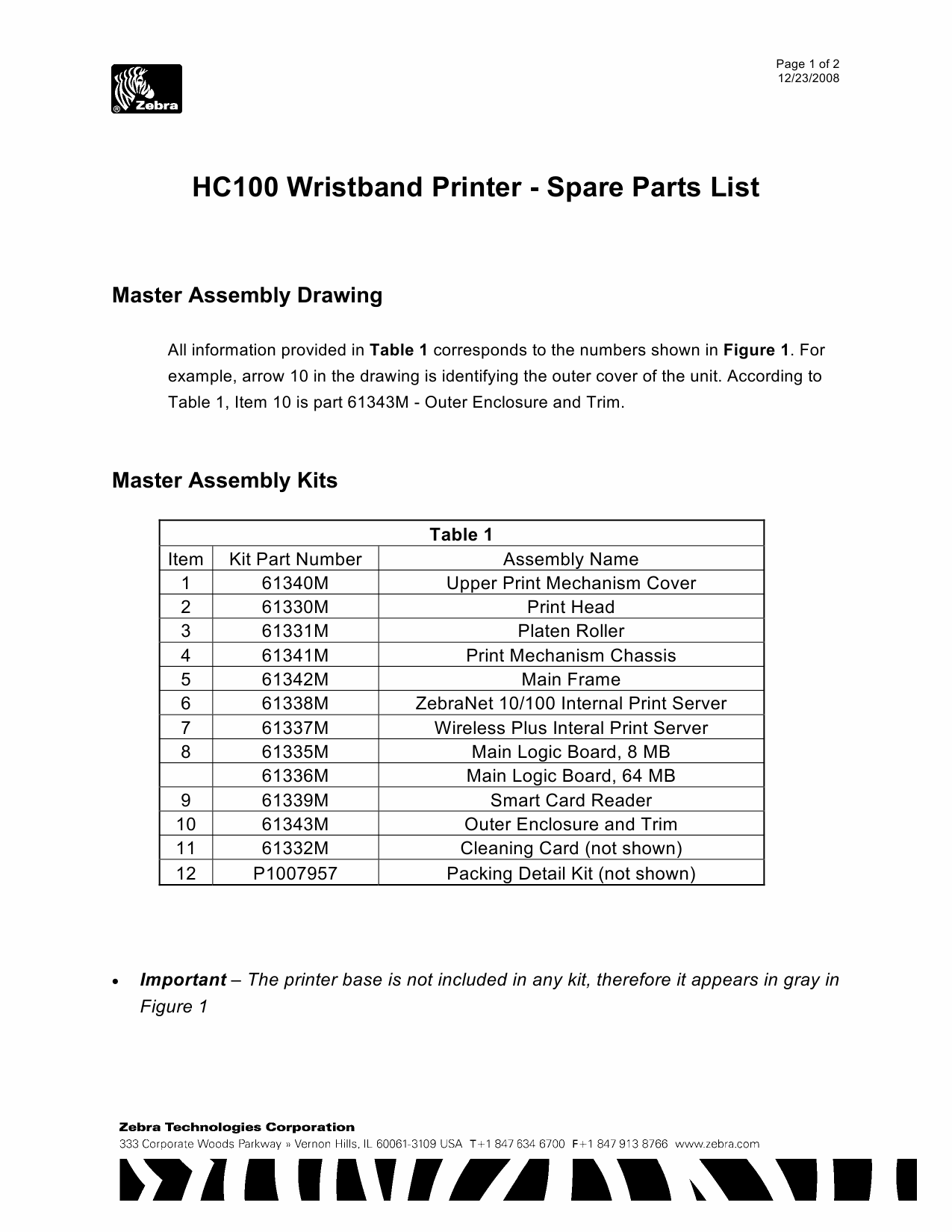 Zebra Label HC100 Parts List-1